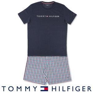 セール!51%OFFTOMMY HILFIGER|トミーヒルフィガーCOLOR BLOCK COTTON CN SS SHORT SETコットン100% ロゴ 半袖 ロゴ Tシャツ&ギンガムチェック ショートパンツセット (上下セット)男性 メンズ プレゼン