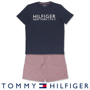 セール!51%OFFTOMMY HILFIGER|トミーヒルフィガーCOLOR BLOCK COTTON CN SS SHORT GINGHAMコットン100% ロゴ 半袖 ロゴ Tシャツ&ギンガムチェック ショートパンツセット (上下セット)男性 メンズ プレゼ