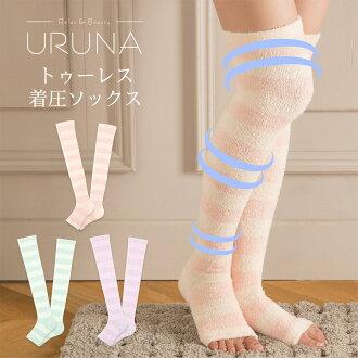 附帶URUNA(伍爾納)圖雷(開放的二)着圧防護帶O巴尼長fuwamoko材料階段壓力設計內外製造、房間短襪家美容脚後跟席的腿解決方案636-6007分10倍