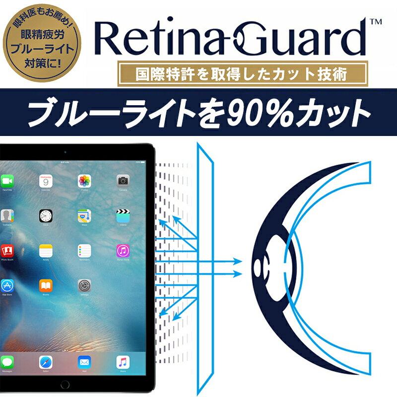 【クリアタイプ】RetinaGuard iPad Pro 12.9 ブルーライト90%カット 保護フィルム 国際特許 液晶保護フィルム 保護シート 保護シール アイパッド プロ 12.9 インチ キズ防止 ブルーライトカット フィルム