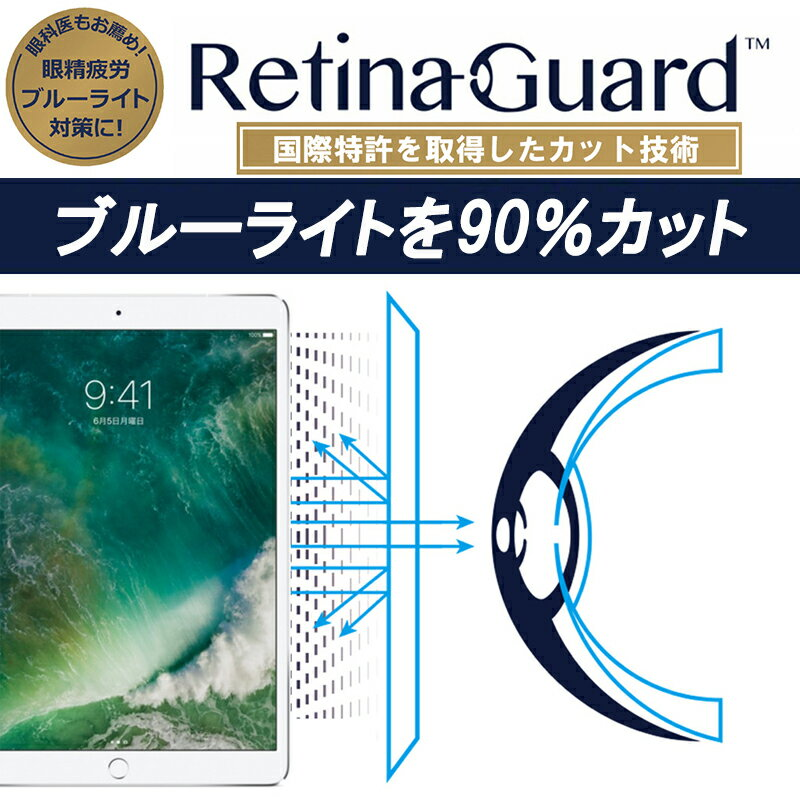 【クリアタイプ】RetinaGuard iPad Pro 10.5 ブルーライト90%カット 保護フィルム 国際特許 液晶保護フィルム 保護シート 保護シール アイパッド プロ 10.5 インチ キズ防止 ブルーライトカット フィルム