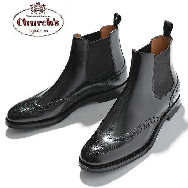 チャーチ Church's レディース ショートブーツ サイドゴア ウイングチップ Ketsby WG Black Polished Binder カーフレザー ブラック サイズ36/36.5/37/37.5/38/38.5 モードなデザイン 上質レザー使用 革靴|サイドゴアブーツ ショート ブーツ ブランド
