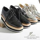 3層アウトソール厚底オックスフォードシューズレースアップシューズオックスフォードシューズ厚底シューズプラットフォームレディースエナメル調靴J.EVERYブラック大人上品トレンドおしゃれ洗練