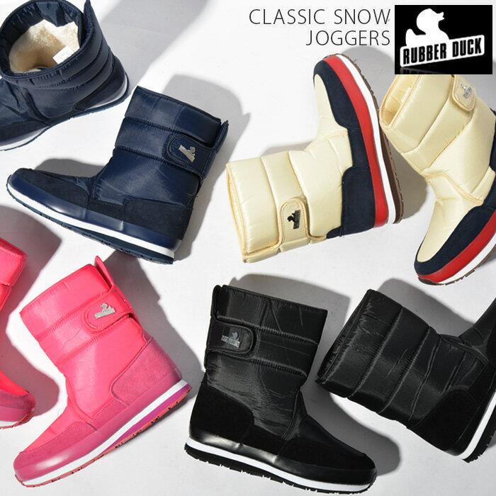 RUBBER DUCK ラバーダック スノーブーツ レディースCLASSIC SNOW JOGGERS ナイロン ムートン ボア ウィンターブーツ ボアブーツ ブーツ シューズ 靴 ブラック ネイビー ピンク ベージュ 黒 紺 23cm 25cm