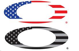 """[国内正規商品] OAKLEY / オークリー /ステッカー /9"""" Foundation Logo / USA Flag 内容 [約8cm x約26cm]×2枚 211-004-001"""