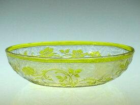 オールド バカラ 小物入れ ● エグランチエ オーバル トレイ 小皿 黄緑 アンティーク Eglantier