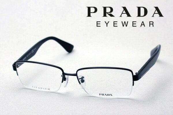 【PRADA】 プラダ メガネ フレーム PR50TVD 7AX1O1 メタル 伊達メガネ 度付き ブルーライト ブルーライトカット 眼鏡 Made In Japan ハーフリム