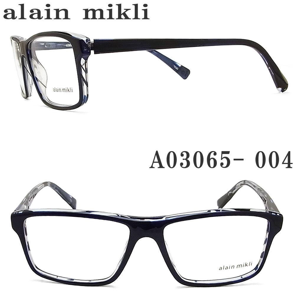 alain mikli アランミクリ メガネフレーム A03065-004 眼鏡 伊達メガネ 度付き ネイビー メンズ 男性
