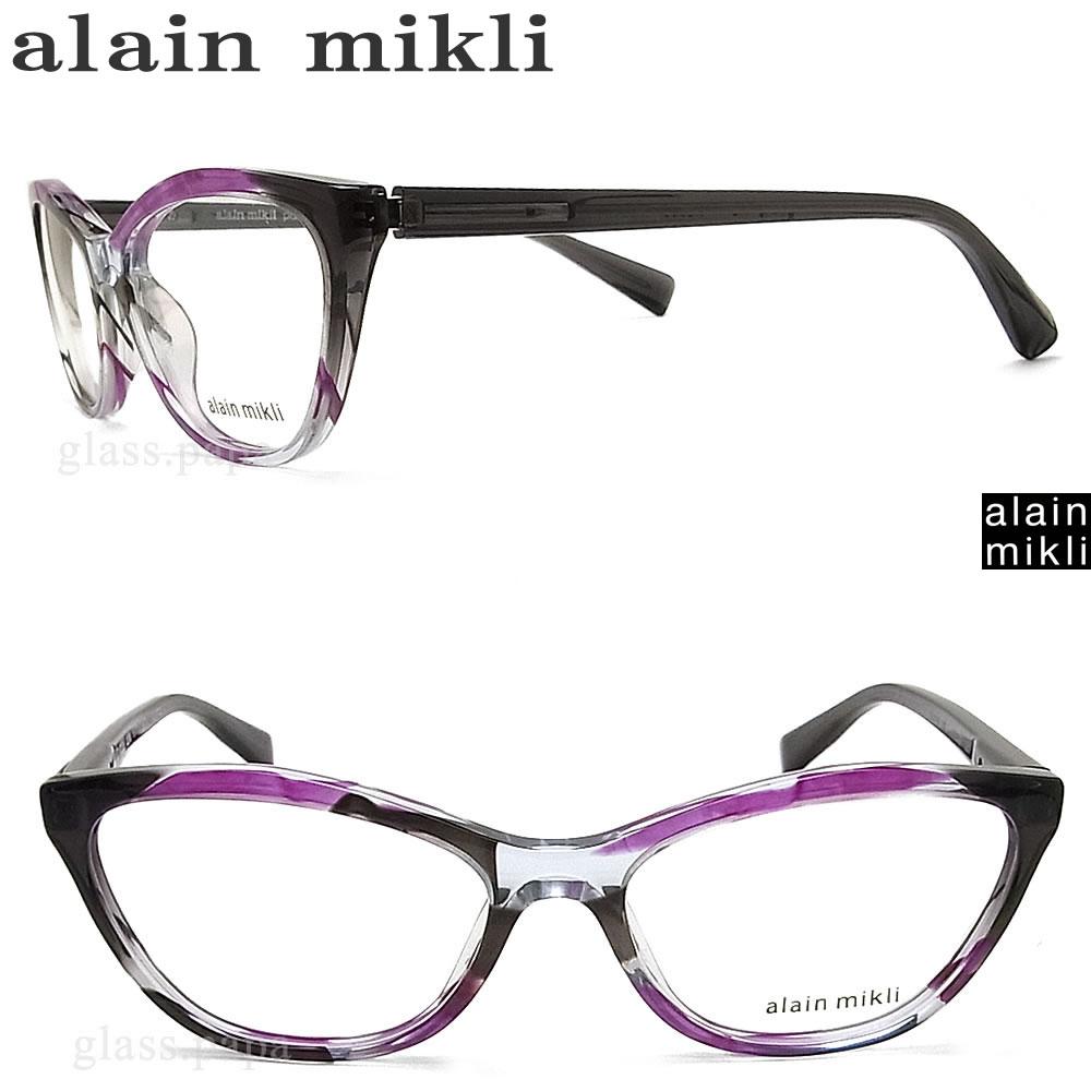 alain mikli アランミクリ メガネフレーム A03067-001 眼鏡 伊達メガネ 度付き パープル×グレー メンズ・レディース