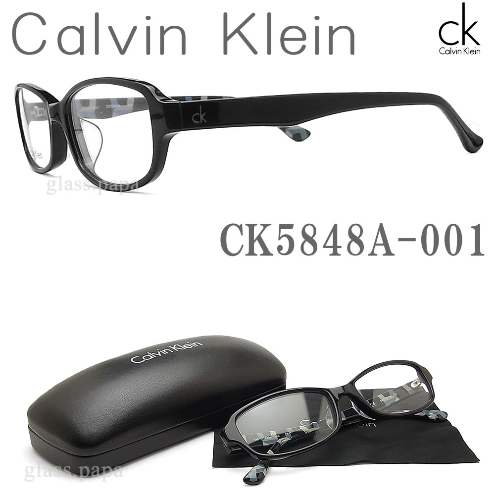 【CALVIN KLEIN】 カルバンクライン メガネ フレーム 5848A-001 眼鏡 伊達メガネ 度付き ブラック メンズ