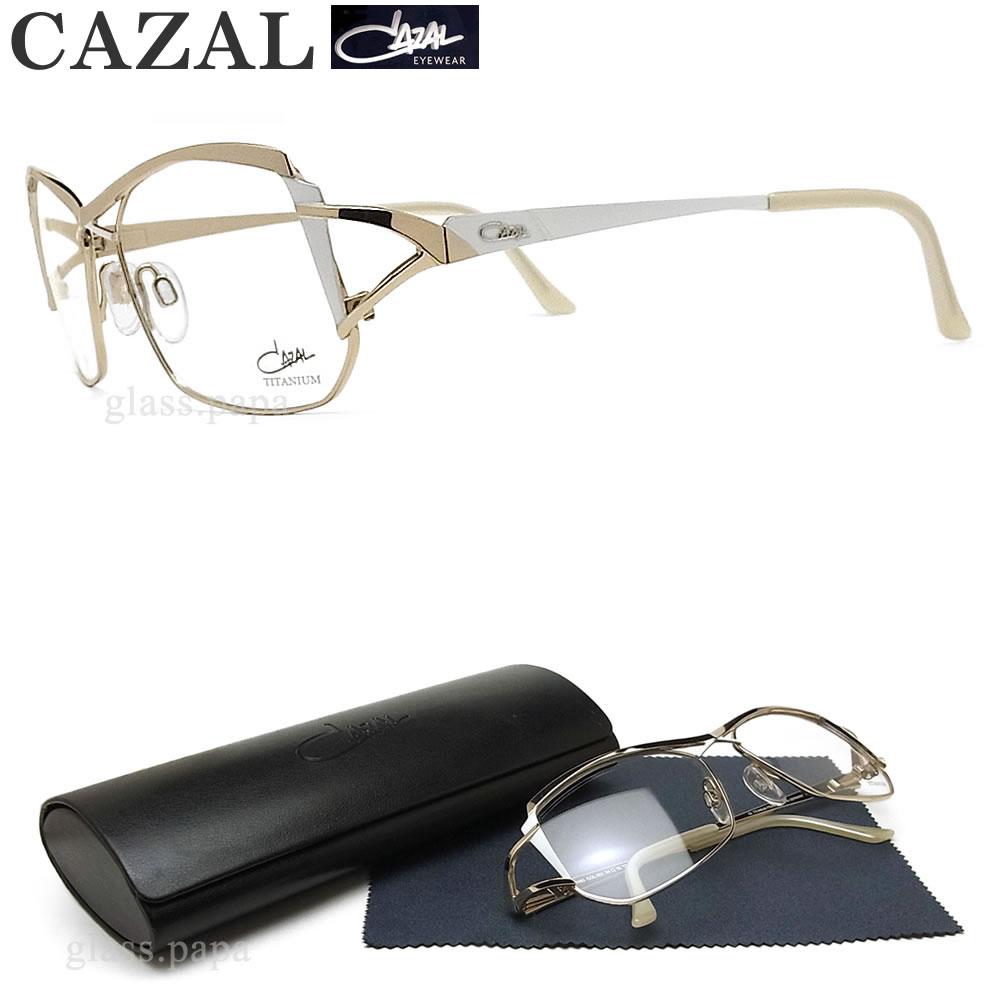 CAZAL カザール メガネフレーム 1083 001 眼鏡 ブランド 伊達メガネ 度付き ゴールド×ホワイト チタン レディース 女性