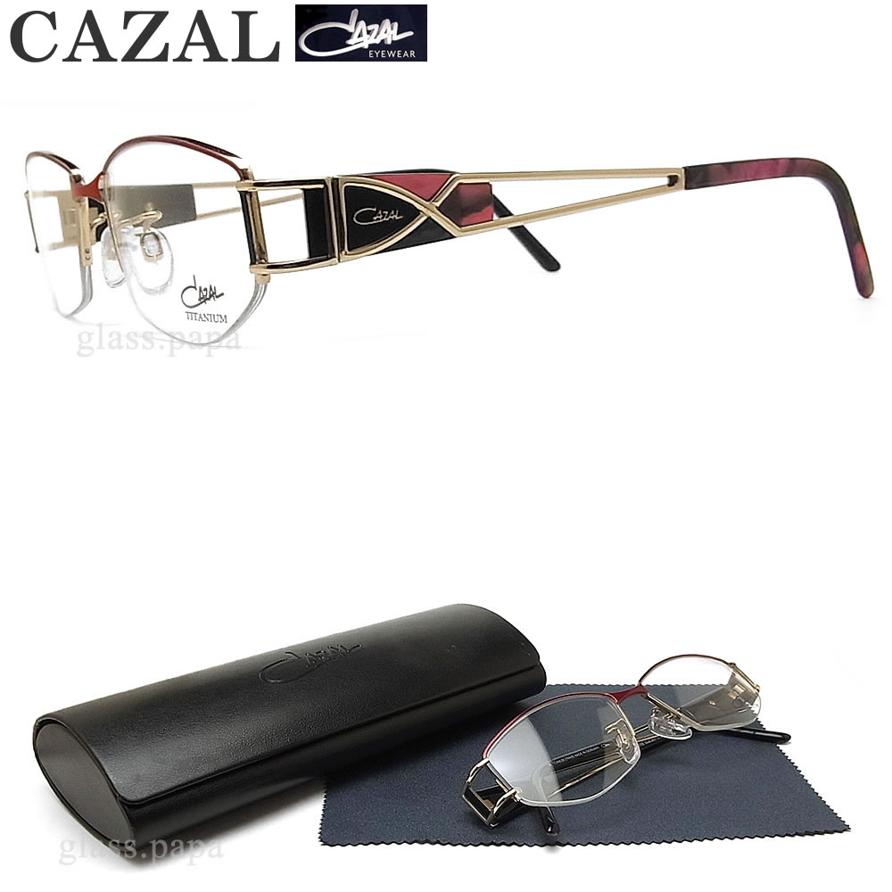 CAZAL カザール メガネフレーム 5703 001 眼鏡 ブランド 伊達メガネ 度付き ゴールド×レッド チタン レディース 女性