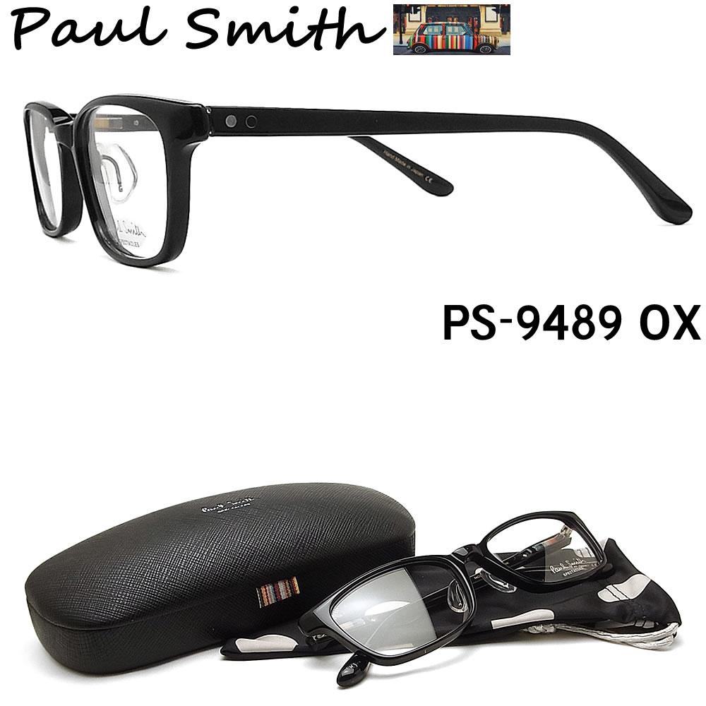 【ポイント10倍!!クーポン付!! 21日20:00スタート】 ポールスミス メガネ PAULSMITH PS9489 OX 眼鏡 伊達メガネ 度付き ブラック メンズ 日本製