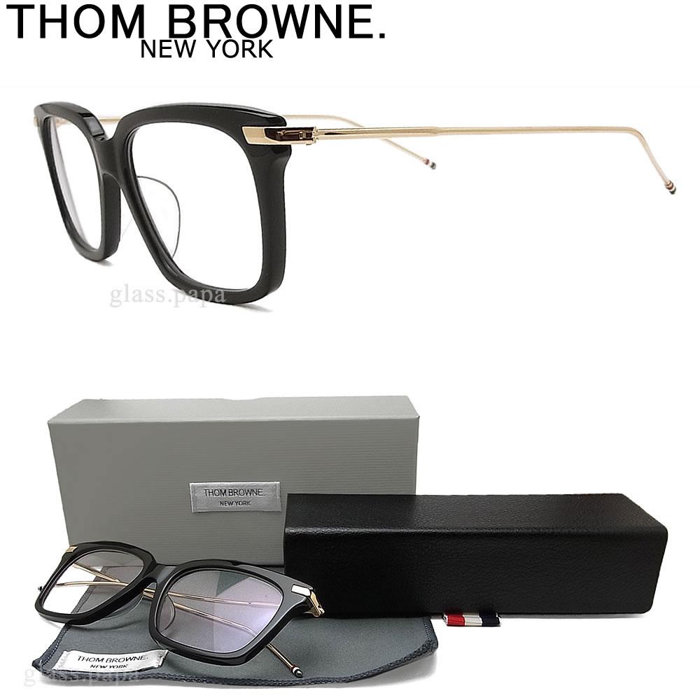 THOM BROWNE. トムブラウン メガネ フレーム TB-701-A-BLK-GLD-49 眼鏡 クラシック 伊達メガネ 度付き ブラック メンズ