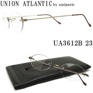 UNION ATLANTIC ユニオンアトランティック メガネ フレーム UA3612B 23 一山ブリッジ 縁ナシ ツーポイント 丸眼鏡 クラシック 伊達メガネ 度付き アンティークゴールド メンズ・レディース 日本製