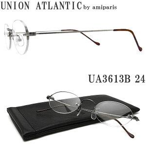 UNION ATLANTIC ユニオンアトランティック メガネ フレーム UA3613B 24 縁ナシ ツーポイント オーバル クラシック 伊達メガネ 度付き アンティークシルバー メンズ・レディース 日本製