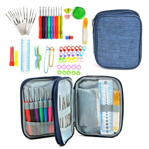 かぎ針セット 72点 かぎ編み 道具 編み針 レース針 DIY手芸 クラフト 色分け 小物?ケース付き コンパクト