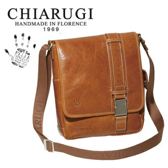 [Free Name-Engraving Service] CHIARUGI vegetable Tanning Leather Shoulder Bag [Today Point 10 Times]