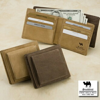 Camel leather and two bi-fold wallet
