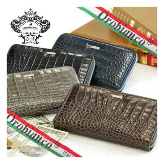 [free shipping] [Orobianco] an INTRALAP crocodile-like leather round zipper long wallet [RCP] [SS10P03mar13]