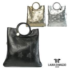 SALE ローラ ディ マッジオ LAURA DI MAGGIO カーフレザー 2way リングハンドル トートバッグ レディース 星型押し 817