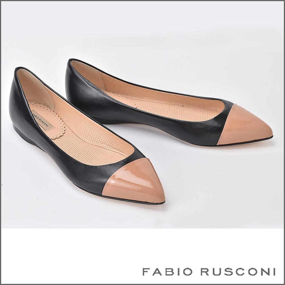ファビオルスコーニ FABIO RUSCONI バイカラー ポインテッドトゥ パンプス フラット 2892 ローヒール 痛くない 結婚式 フォーマル 黒 ブラック ベージュ 22.5cm 23cm 23.5cm 24cm 24.5cm 彼女 妻 女性 人気 レディース シューズ  秋コーデ 靴