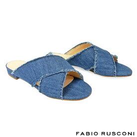 ファビオルスコーニ FABIO RUSCONI デニムミュール 3513スリッパサンダル ミュール サンダル ミュール レディース ミュール ローヒール ミュール ぺたんこ ミュール ネイビー 22.5cm 23cm 23.5cm 24cm 彼女 妻 女性 人気 レディース シューズ 靴