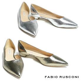 残りわずか ファビオルスコーニ FABIO RUSCONI ポインテッドトゥ サイドオープンパンプス レディース レザー ヒール2cm S4107