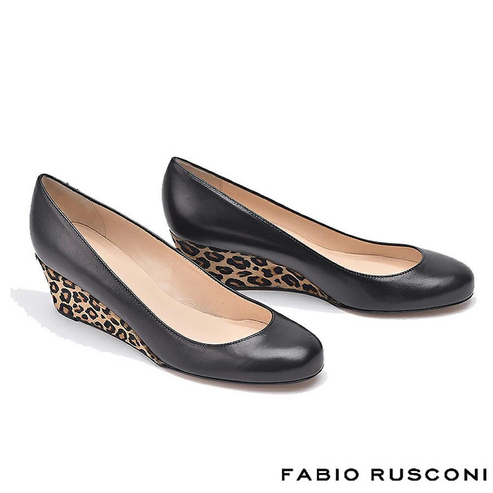 ファビオルスコーニ FABIO RUSCONI レザー レオパード ハラコ ウェッジソール パンプス ヒール5.5cm COSMA-Z パンプス 痛くない 結婚式 パーティー 卒業式 フォーマル 黒 ブラック 22.5cm 送料無料 彼女 妻 女性 人気 レディース シューズ 靴