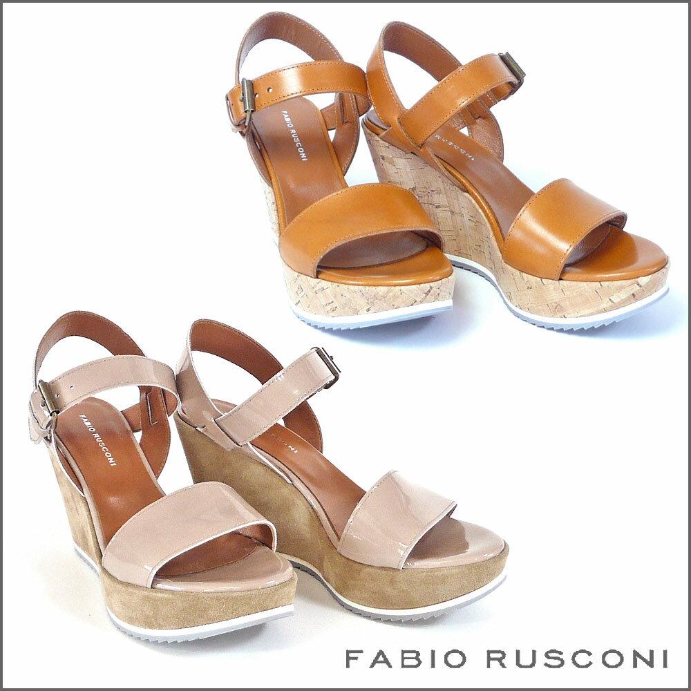 ファビオルスコーニ FABIO RUSCONI レザー ウェッジ サンダル MERY70V ヒール9.5cm レディース シューズ 靴 エナメル 歩きやすい オープントゥ パーティー 22.5cm 23cm 23.5cm 24.0cm ブラウン ベージュ 彼女 妻 女性 人気 レディース シューズ 靴