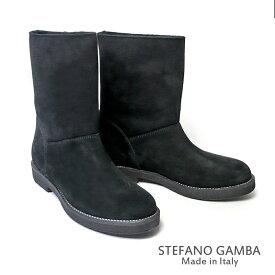 ステファノ ガンバ STEFANO GAMBA ムートン ショートブーツ 8258スエード ファー 内ボア ブーツ レディース シューズ 疲れない 痛くない 大きいサイズ ペタンコ ugg アグ 黒 ブラック 23cm 23.5cm 24cm 24.5cm -2018