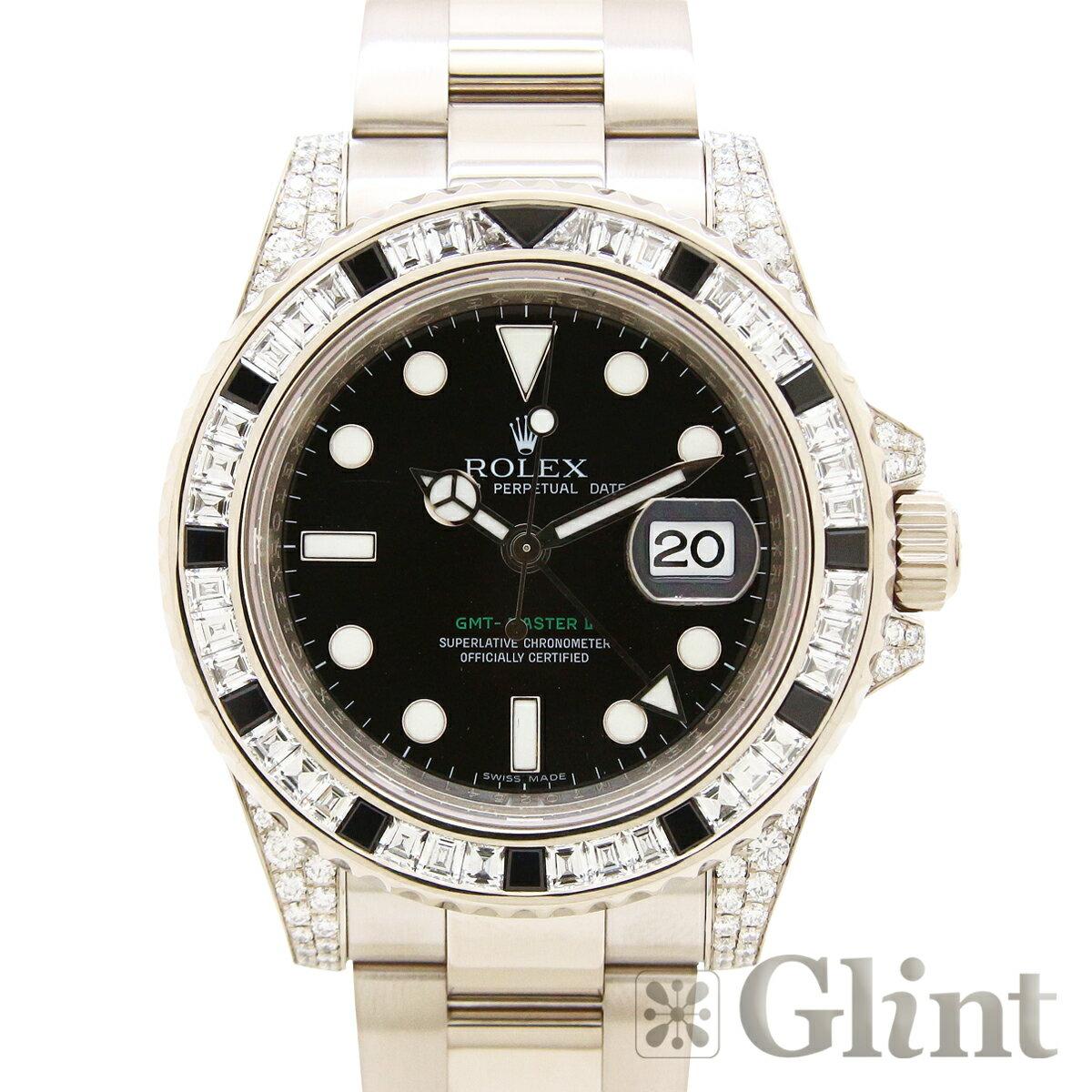 ロレックス ROLEX GMTマスター2 116759SANR〔バゲットダイヤモンド&ブラックサファイヤ〕〔腕時計〕〔メンズ〕〔純正品〕〔18Kホワイトゴールド〕【中古】