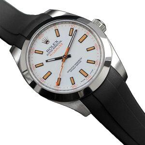 ラバーB【RUBBERB】ROLEXミルガウス専用ラバーベルト 色:ブラック【ROLEX純正バックルを使用】※時計、バックルは付属しません