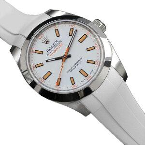ラバーB【RUBBERB】ROLEXミルガウス専用ラバーベルト 色:ホワイト【ROLEX純正バックルを使用】※時計、バックルは付属しません
