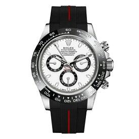 ラバーB【RUBBERB】ロレックス(ROLEX)デイトナ(DAYTONA)オイスターブレスレットモデル専用ラバーベルト【ブラック×レッド】【ROLEX純正バックルを使用】※時計、バックルは付属しません