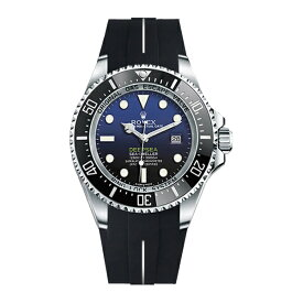 ラバーB【RUBBERB】ROLEX ディープシー(Ref.116660)専用ラバーベルト 色:ブラック×ホワイト【尾錠付き】※時計は付属しません