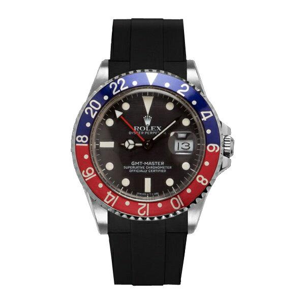 ラバーB【RUBBERB】ROLEX GMTマスター専用ラバーベルト 色:ブラック【尾錠付き】※時計は付属しません