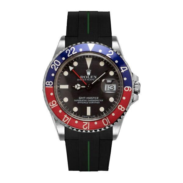 ラバーB【RUBBERB】ROLEXGMTマスター専用ラバーベルト 色:ブラック×グリーン【ROLEX純正バックルを使用】※時計、バックルは付属しません