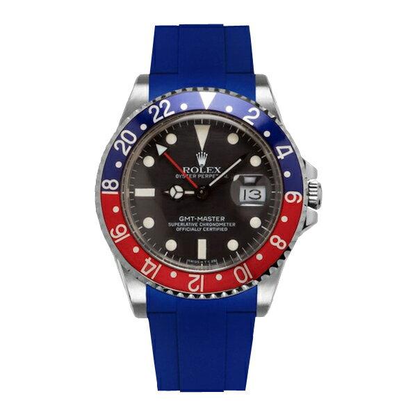 ラバーB【RUBBERB】ROLEX GMTマスター専用ラバーベルト 色:ブルー【尾錠付き】※時計は付属しません