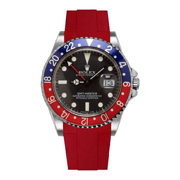 ラバーB【RUBBERB】ROLEX GMTマスター専用ラバーベルト 色:レッド【尾錠付き】※時計は付属しません