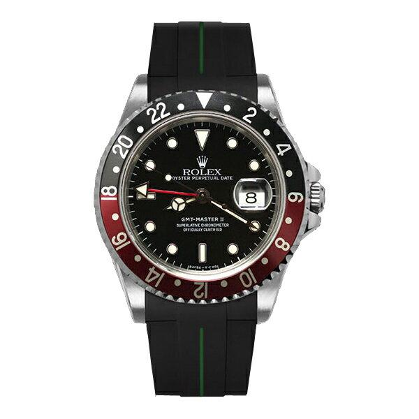 ラバーB【RUBBERB】ROLEXGMTマスターII専用ラバーベルト 色:ブラック×グリーン【ROLEX純正バックルを使用】※時計、バックルは付属しません