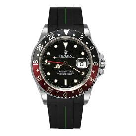 ラバーB【RUBBERB】ROLEX GMTマスターII専用ラバーベルト 色:ブラック×グリーン【尾錠付き】※時計は付属しません