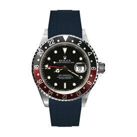 ラバーB【RUBBERB】ROLEXGMTマスターII専用ラバーベルト 色:ネイビー【ROLEX純正バックルを使用】※時計、バックルは付属しません