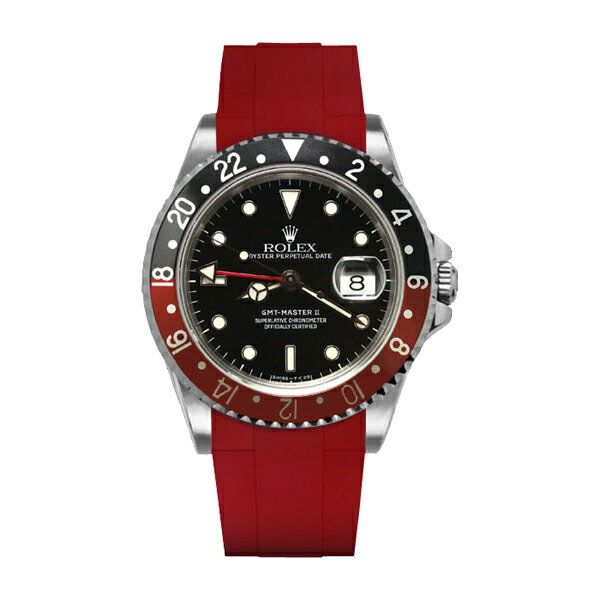 ラバーB【RUBBERB】ROLEX GMTマスターII専用ラバーベルト 色:レッド【尾錠付き】※時計は付属しません