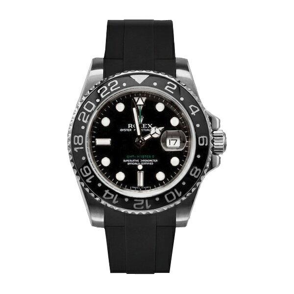 ラバーB【RUBBERB】ROLEX GMTマスターIIセラミック専用ラバーベルト 色:ブラック【尾錠付き】※時計は付属しません