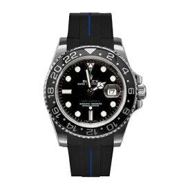 ラバーB【RUBBERB】ROLEX GMTマスターIIセラミック専用ラバーベルト 色:ブラック×ブルー【尾錠付き】※時計は付属しません