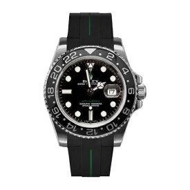 ラバーB【RUBBERB】ROLEX GMTマスターIIセラミック専用ラバーベルト 色:ブラック×グリーン【ROLEX純正バックルを使用】※時計、バックルは付属しません