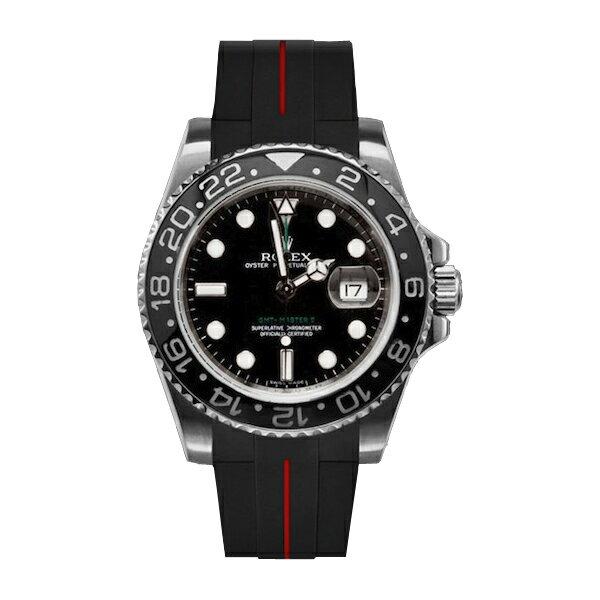 ラバーB【RUBBERB】ROLEXGMTマスターIIセラミック専用ラバーベルト 色:ブラック×レッド【ROLEX純正バックルを使用】※時計、バックルは付属しません