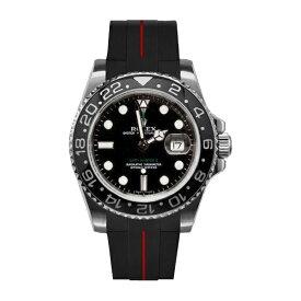 ラバーB【RUBBERB】ROLEX GMTマスターIIセラミック専用ラバーベルト 色:ブラック×レッド【尾錠付き】※時計は付属しません