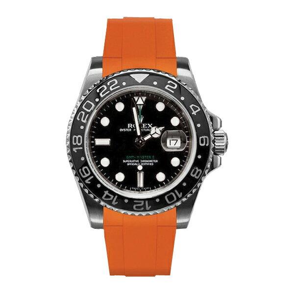 ラバーB【RUBBERB】ROLEX GMTマスターIIセラミック専用ラバーベルト 色:オレンジ【尾錠付き】※時計は付属しません